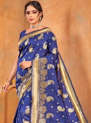 Weaving Blue Banarasi Silk Classic Saree