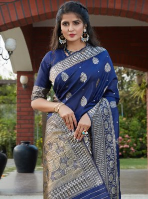 Weaving Blue Banarasi Silk Traditional Designer Saree