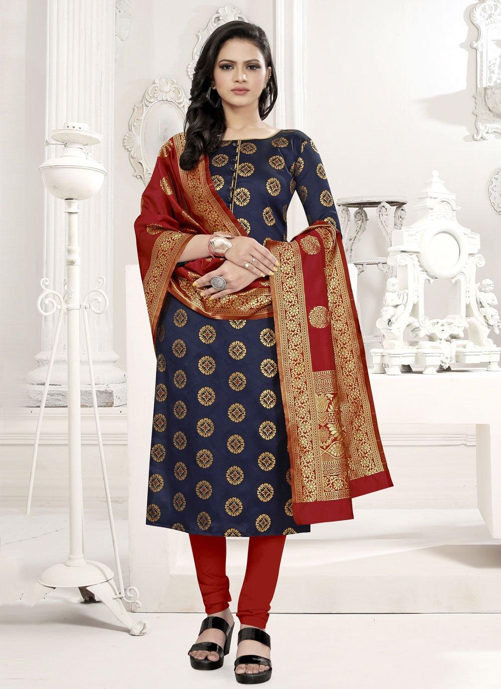 Weaving Blue Fancy Fabric Churidar Suit