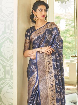Weaving Blue Handloom silk Designer Traditional Saree