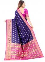 Weaving Blue Traditional Designer Saree