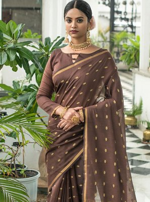 Weaving Brown Cotton Classic Designer Saree