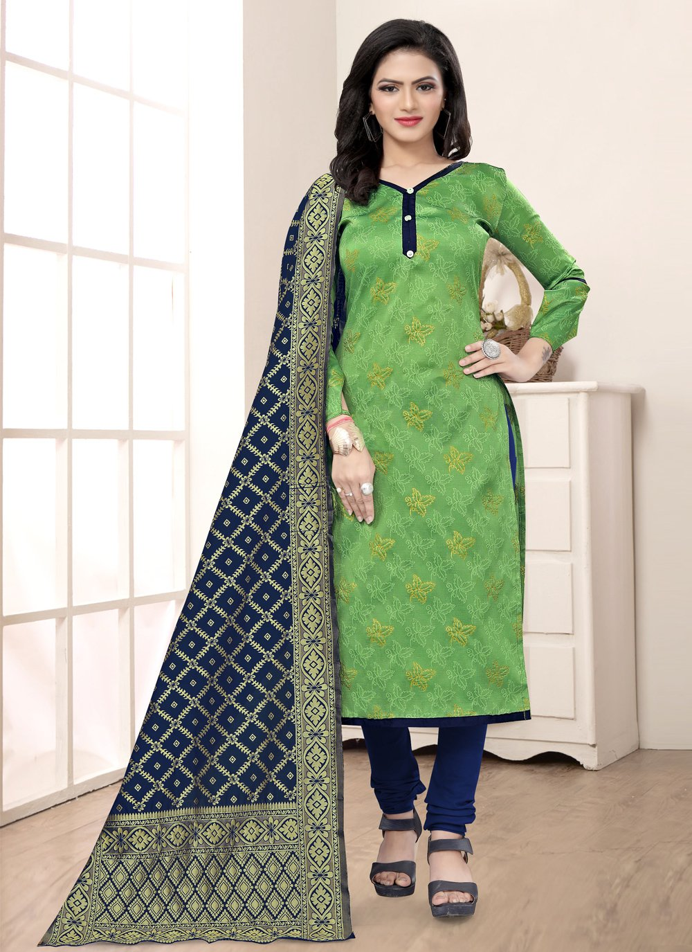 Weaving Churidar Salwar Suit