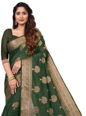 Weaving Cotton Green Casual Saree