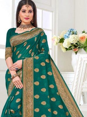 Weaving Cotton Silk Green Traditional Saree