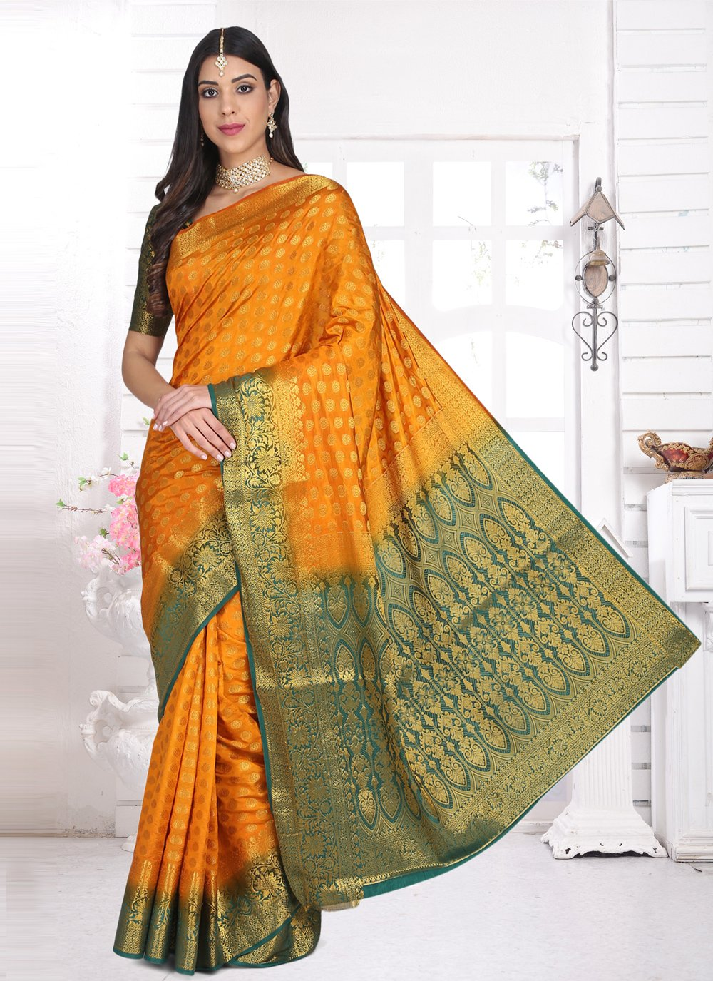 Weaving Cotton Silk Yellow Designer Saree