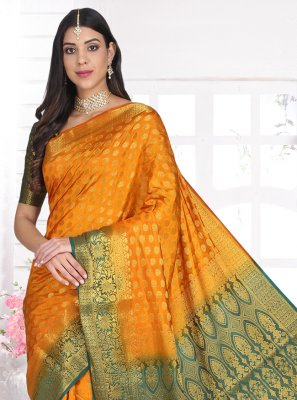 Weaving Cotton Silk Yellow Designer Saree