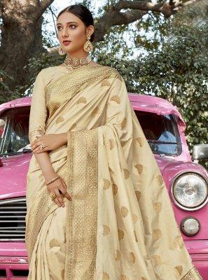 Weaving Cream Designer Traditional Saree