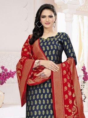 Weaving Fancy Fabric Blue Churidar Suit