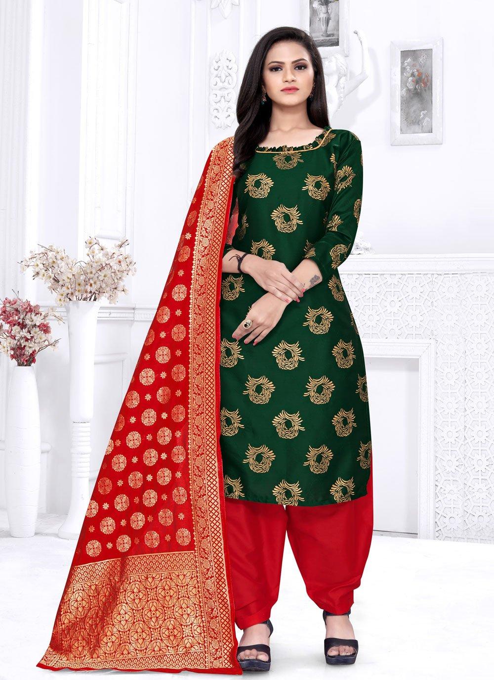 Weaving Fancy Fabric Green Punjabi Suit