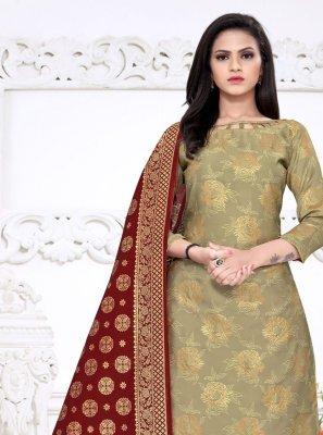 Weaving Fancy Fabric Palazzo Salwar Suit in Beige