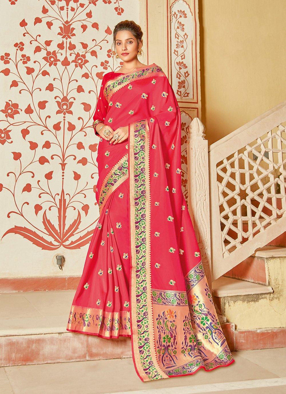 Weaving Fuchsia Silk Designer Saree