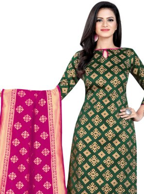 Weaving Green Banarasi Silk Churidar Salwar Suit