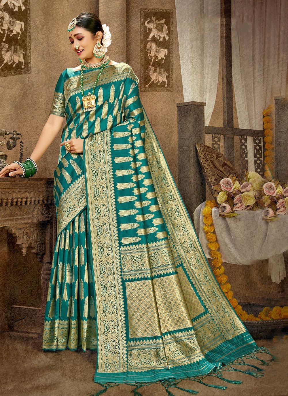 Weaving Green Banarasi Silk Traditional Designer Saree