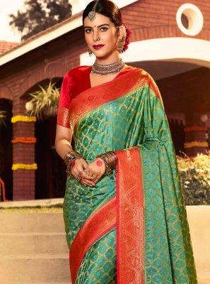Weaving Green Bollywood Saree