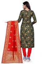 Weaving Green Churidar Designer Suit
