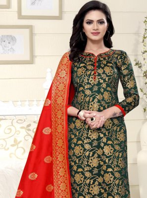 Weaving Green Churidar Designer Suit