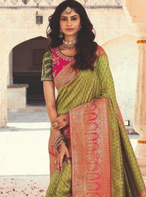 Weaving Green Designer Saree