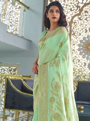 Weaving Green Fancy Fabric Traditional Saree