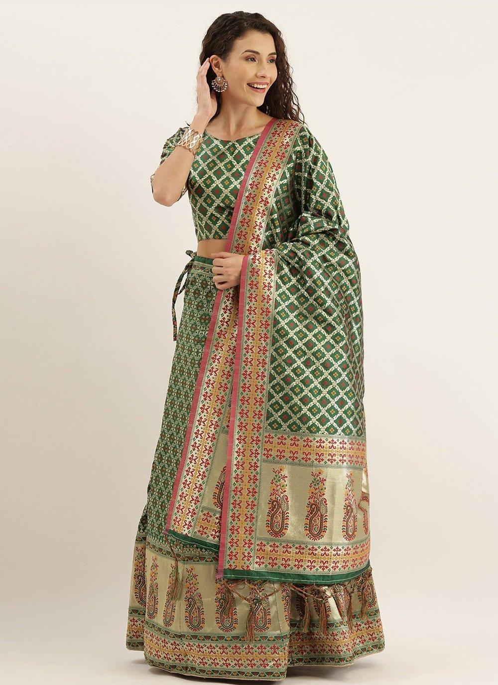 Weaving Green Lehenga Choli