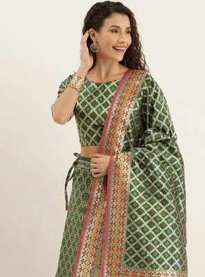 Weaving Green Lehenga Choli