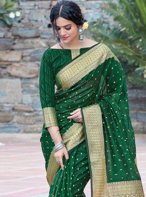 Weaving Green Traditional Saree