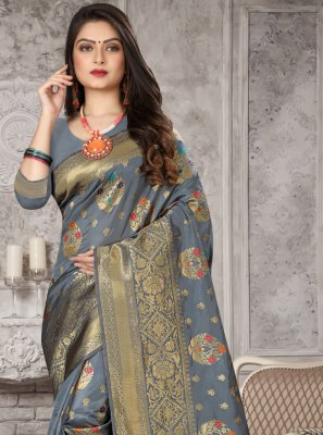 Weaving Grey Art Banarasi Silk Traditional Designer Saree