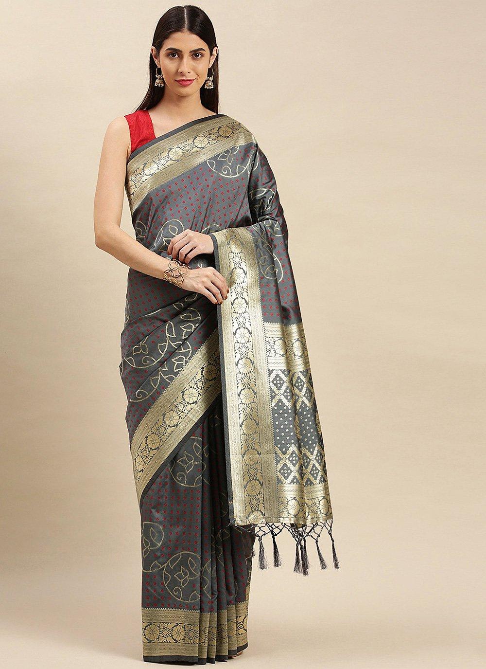 Weaving Grey Traditional Designer Saree