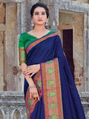 Weaving Handloom Cotton Blue Trendy Saree