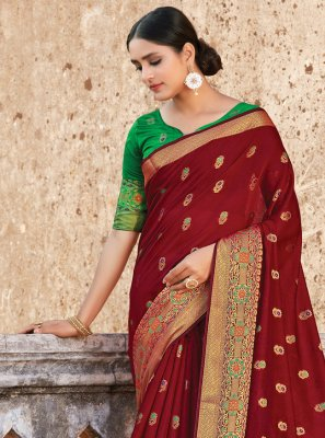 Weaving Handloom Cotton Designer Traditional Saree in Maroon