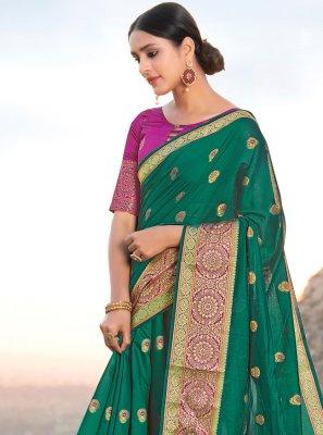 Weaving Handloom Cotton Green Traditional Designer Saree