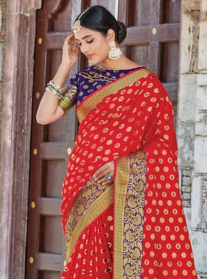 Weaving Handloom silk Red Traditional Designer Saree
