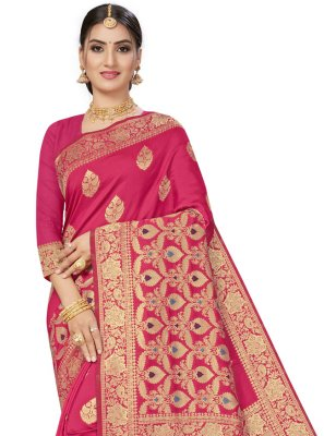 Weaving Hot Pink Banarasi Silk Traditional Designer Saree