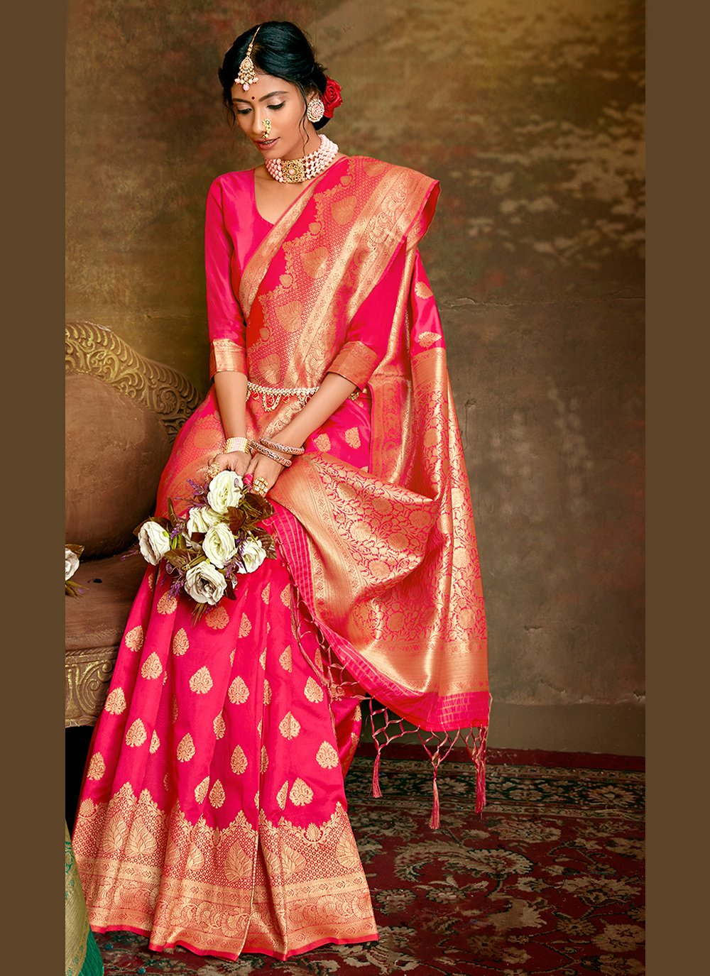 Weaving Hot Pink Fancy Fabric Traditional Saree