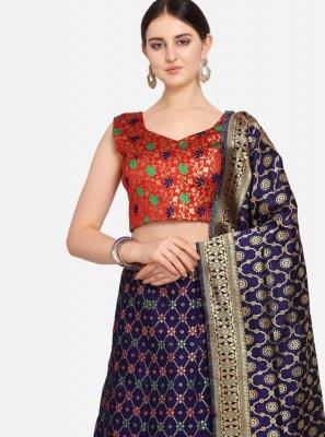 Weaving Jacquard A Line Lehenga Choli in Blue