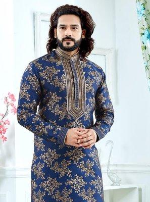 Weaving Jacquard Kurta Pyjama in Blue