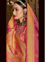 Weaving Jacquard Silk Hot Pink Designer Saree