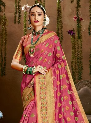 Weaving Jacquard Silk Hot Pink Designer Saree