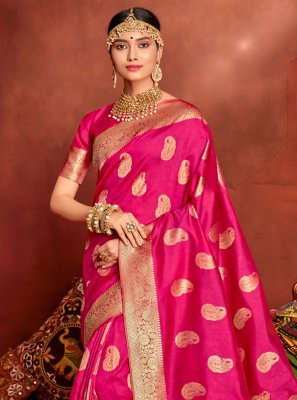 Weaving Jacquard Silk Hot Pink Traditional Saree