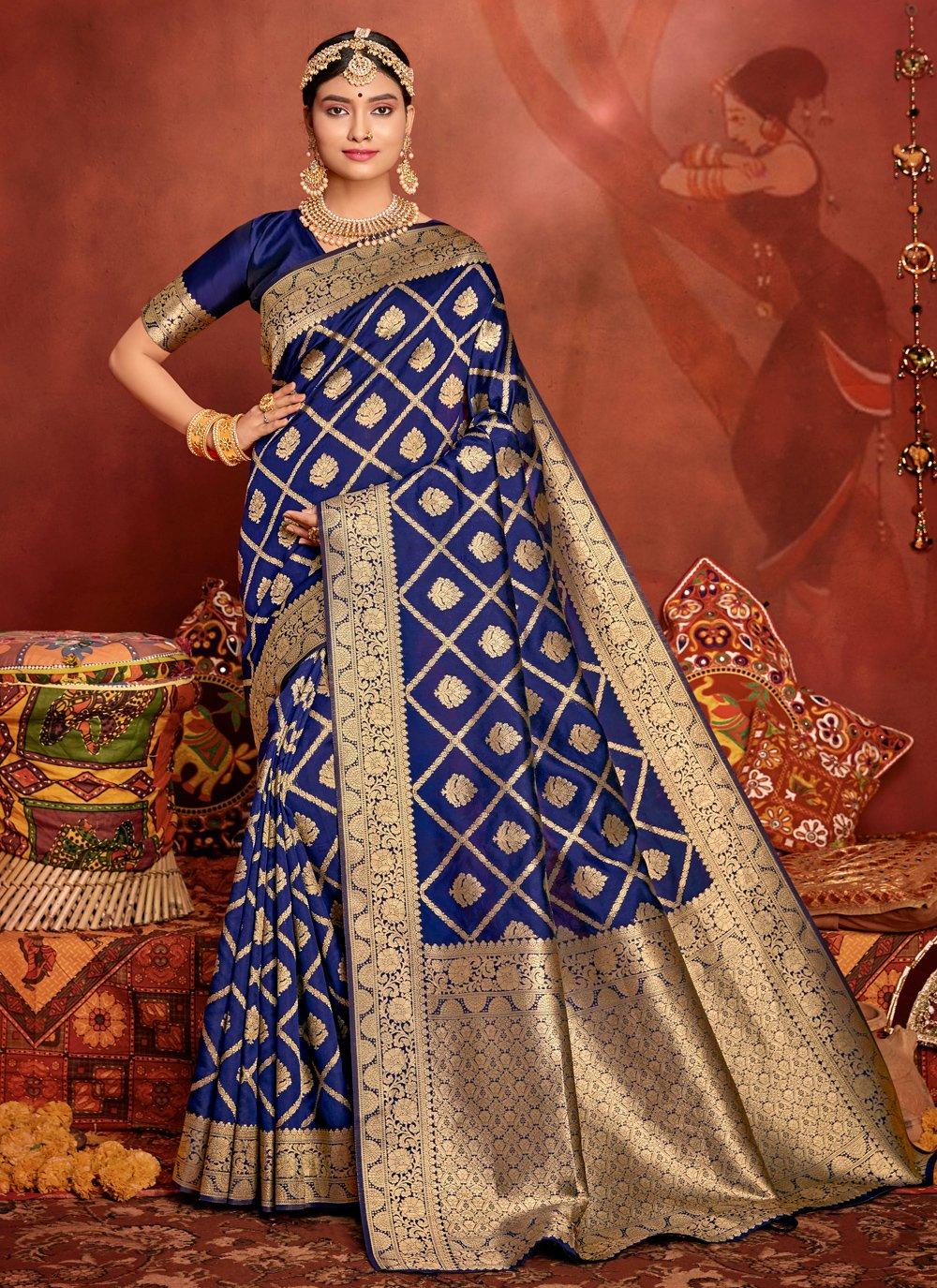 Weaving Jacquard Silk Traditional Designer Saree