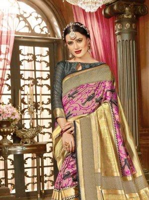 Weaving Kanjivaram Silk Traditional Designer Saree in Multi Colour