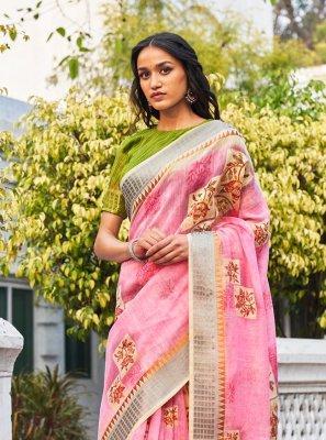 Weaving Linen Classic Designer Saree in Pink