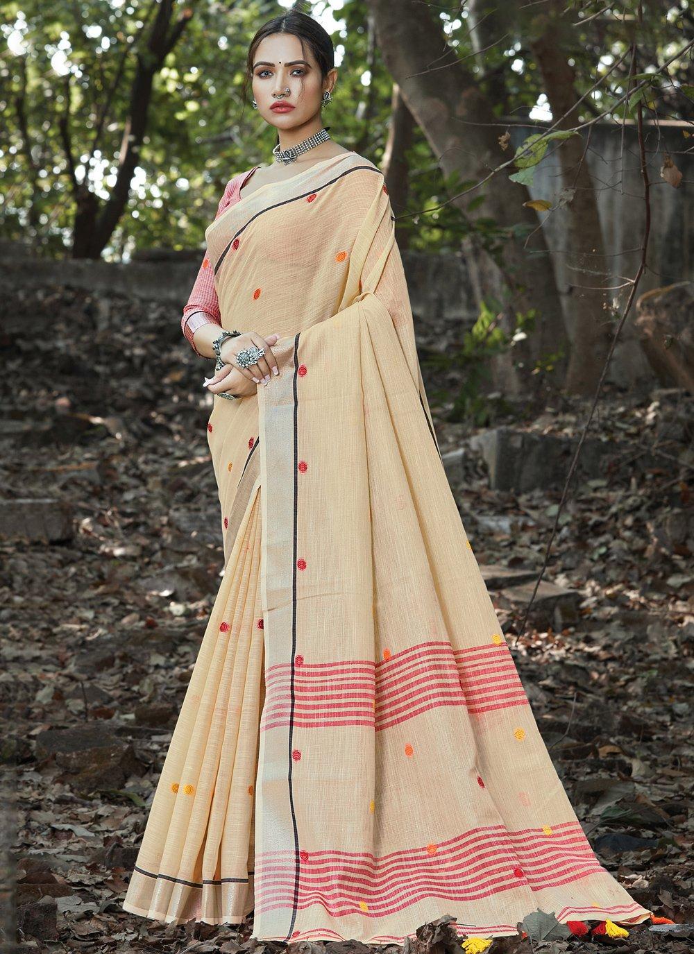 Weaving Linen Cream Classic Saree