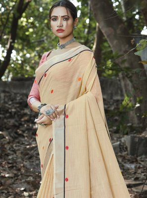 Weaving Linen Cream Classic Saree