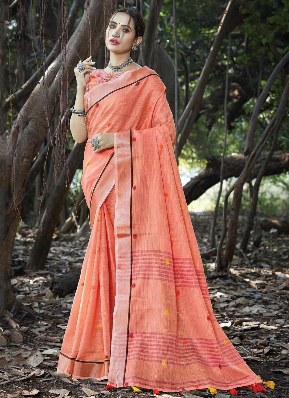 Weaving Linen Orange Traditional Saree