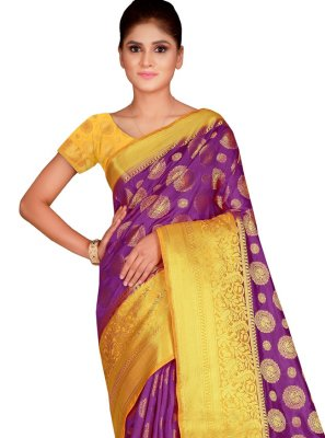 Weaving Magenta Contemporary Saree