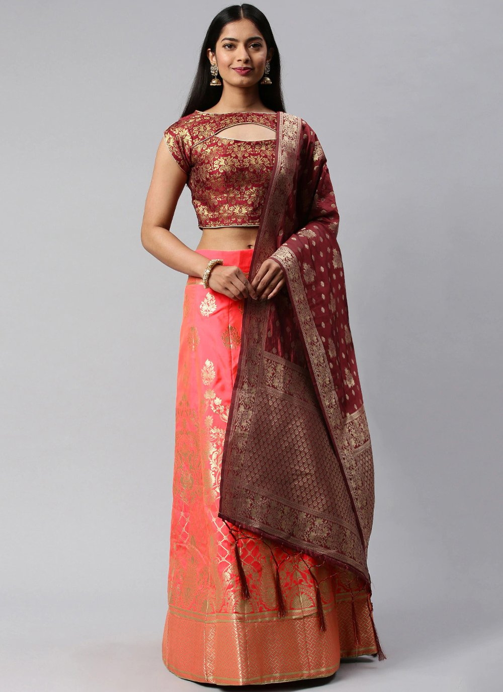 Weaving Maroon and Peach Banarasi Silk Lehenga Choli
