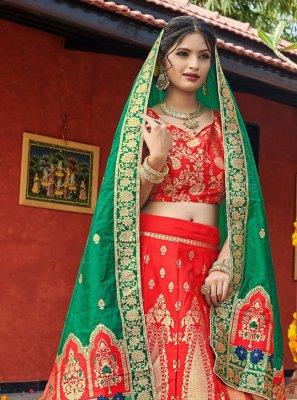 Weaving Mehndi Lehenga Choli