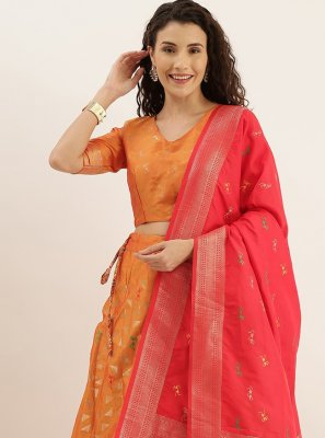 Weaving Mustard and Red Lehenga Choli