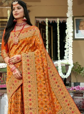 Weaving Mustard Banarasi Silk Traditional Saree